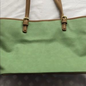 Bueno green and tan tote bag, leather look
